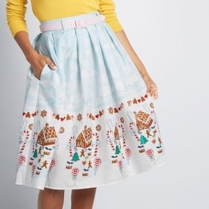 Modcloth Hell Bunny Gingerbread Swing Skirt NWT
